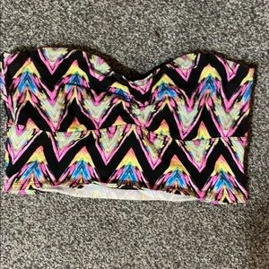Black and neon chevron printed, long line bandeau